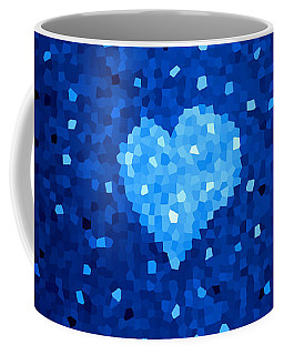 Winter Blue Crystal Heart Coffee Mug