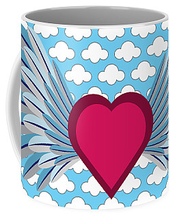 Coffee Mug featuring the digital art Winged Heart In A Cloudy Blue Sky by MM Anderson