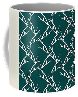 Green Bird Silhouette Plaid Bird Art Coffee Mug