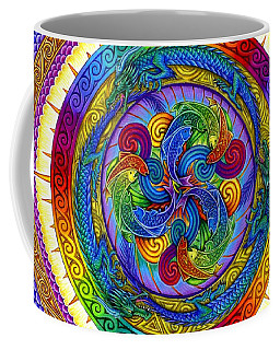 Psychedelic Dragons Rainbow Mandala Coffee Mug