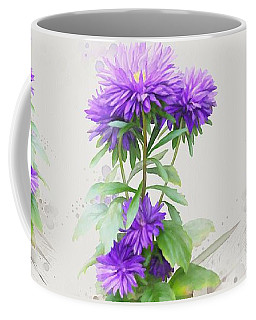 Coffee Mug featuring the painting Purple Aster by Ivana