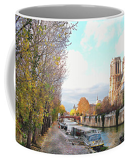 The Seine And Quay Beside Notre Dame, Autumn Coffee Mug