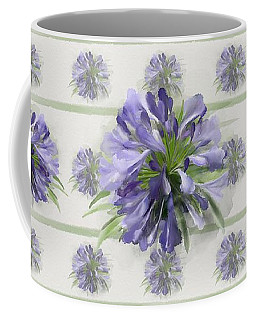 Coffee Mug featuring the painting Blue Purple Flowers by Ivana Westin