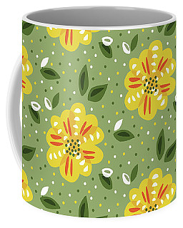 Abstract Yellow Primrose Flower Coffee Mug