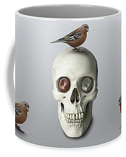 Coffee Mug featuring the painting Skull And Bird by Ivana Westin