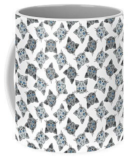Coffee Mug featuring the digital art Cute Gray Tabby Cat Face by MM Anderson