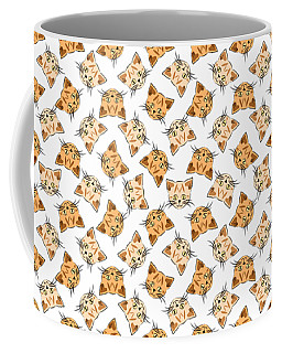 Coffee Mug featuring the digital art Cute Orange Tabby Cat Face by MM Anderson