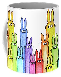 Bunny Rabbits Watercolor Rainbow Coffee Mug