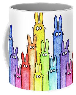 Bunny Rainbow Pattern Coffee Mug