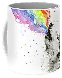 Wolf Rainbow Watercolor Coffee Mug