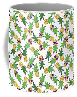 Coffee Mug featuring the digital art Summer Pineapples Wearing Retro Sunglasses by MM Anderson