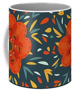 Whimsical Decorative Orange Flower Coffee Mug