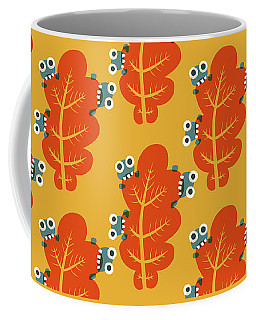 Cute Bugs Eat Autumn Leaf Coffee Mug
