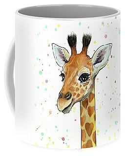 Baby Giraffe Watercolor With Heart Shaped Spots Coffee Mug