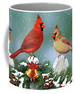 Winter Birds And Christmas Garland Coffee Mug