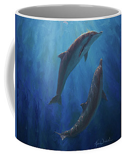 Coffee Mug featuring the painting Dolphin Dance - Underwater Whales by Karen Whitworth