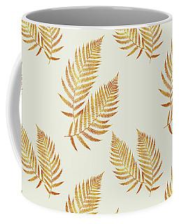 Coffee Mug featuring the mixed media Gold Fern Leaf Art by Christina Rollo