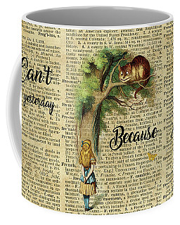 Alice In Wonderland Quote,cheshire Cat,vintage Dictionary Art Coffee Mug