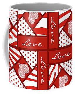 Valentine 4 Square Quilt Block Coffee Mug