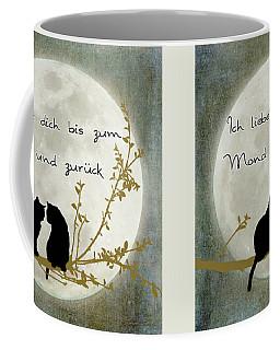 Coffee Mug featuring the digital art Ich Liebe Dich Bis Zum Mond Und Zuruck  by Linda Lees