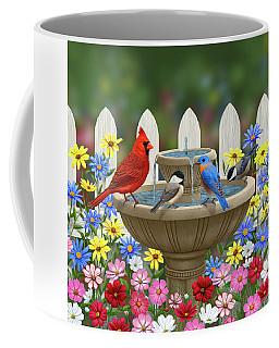 The Colors Of Spring - Bird Fountain In Flower Garden Coffee Mug