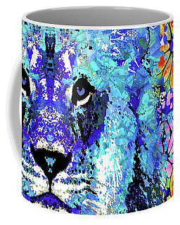 Coffee Mug featuring the painting Beauty And The Beast - Lion Art - Sharon Cummings by Sharon Cummings