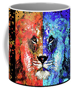 Coffee Mug featuring the painting Lion Art - Majesty - Sharon Cummings by Sharon Cummings