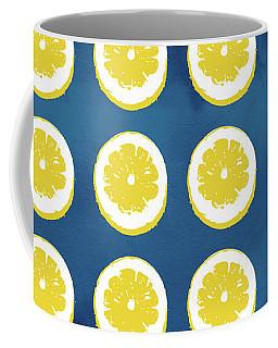 Sliced Lemons On Blue- Art By Linda Woods Coffee Mug