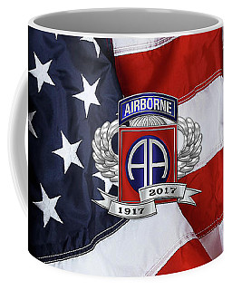 82nd Airborne Division 100th Anniversary Insignia Over American Flag  Coffee Mug