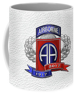 82nd Airborne Division 100th Anniversary Insignia Over White Leather Coffee Mug