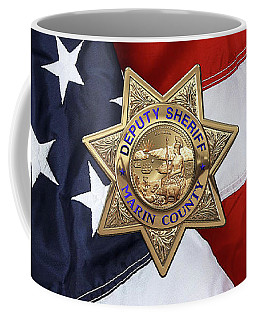 Coffee Mug featuring the digital art Marin County Sheriff Department - Deputy Sheriff Badge Over American Flag by Serge Averbukh