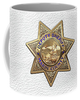 Coffee Mug featuring the digital art Marin County Sheriff Department - Deputy Sheriff Badge Over White Leather by Serge Averbukh