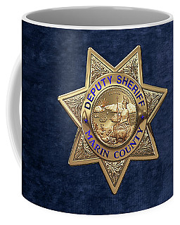 Coffee Mug featuring the digital art Marin County Sheriff's Department - Deputy Sheriff's Badge Over Blue Velvet by Serge Averbukh