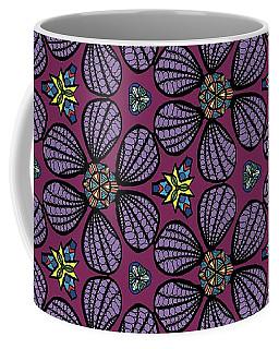 Purple Flowers Pattern Coffee Mug
