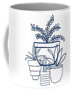 Indigo Potted Succulents- Art By Linda Woods Coffee Mug