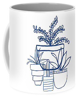 Coffee Mug featuring the mixed media Indigo Potted Succulents- Art By Linda Woods by Linda Woods