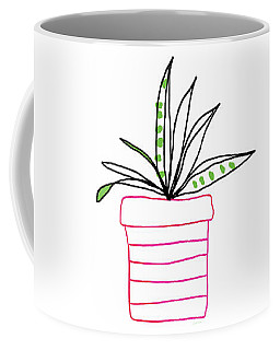Coffee Mug featuring the mixed media Succulent In A Pink Pot- Art By Linda Woods by Linda Woods