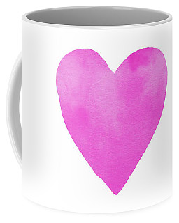 Coffee Mug featuring the mixed media Pink Watercolor Heart- Art By Linda Woods by Linda Woods