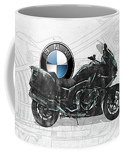 Coffee Mug featuring the digital art 2016 Bmw-k1600gt Motorcycle With 3d Badge Over Vintage Blueprint  by Serge Averbukh