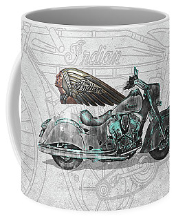 Coffee Mug featuring the digital art 2017 Indian Chief Classic Motorcycle With 3d Badge Over Vintage Blueprint  by Serge Averbukh
