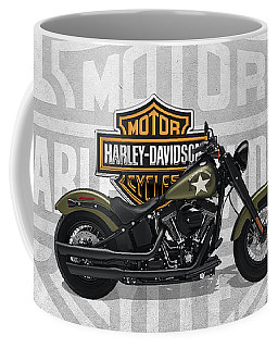 Coffee Mug featuring the digital art 2017 Harley-davidson Softail Slim S Motorcycle With 3d Badge Over Vintage Background  by Serge Averbukh