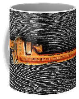 Coffee Mug featuring the photograph Tools On Wood 60 On Bw by YoPedro