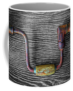 Coffee Mug featuring the photograph Tools On Wood 61 On Bw by YoPedro