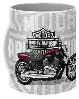 Coffee Mug featuring the digital art 2017 Harley-davidson V-rod Muscle Motorcycle With 3d Badge Over Vintage Background  by Serge Averbukh