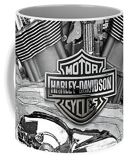 Coffee Mug featuring the digital art Harley-davidson Motorcycle Engine Detail With 3d Badge  by Serge Averbukh