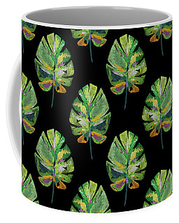 Coffee Mug featuring the mixed media Tropical Leaves On Black- Art By Linda Woods by Linda Woods
