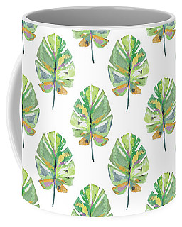 Coffee Mug featuring the mixed media Tropical Leaves On White- Art By Linda Woods by Linda Woods