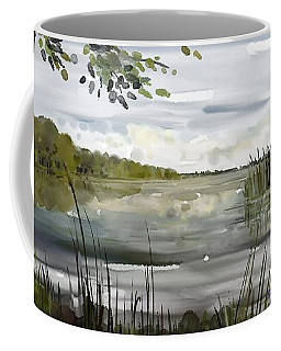 Coffee Mug featuring the painting Quiet Day By Lake by Ivana Westin