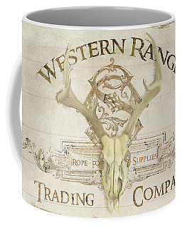 Coffee Mug featuring the painting Western Range 3 Old West Deer Skull Wooden Sign Trading Company by Audrey Jeanne Roberts