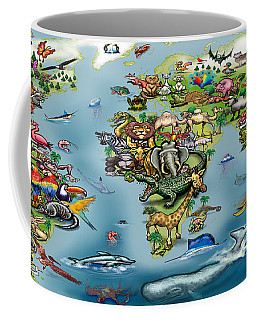 Coffee Mug featuring the digital art Animals World Map by Kevin Middleton